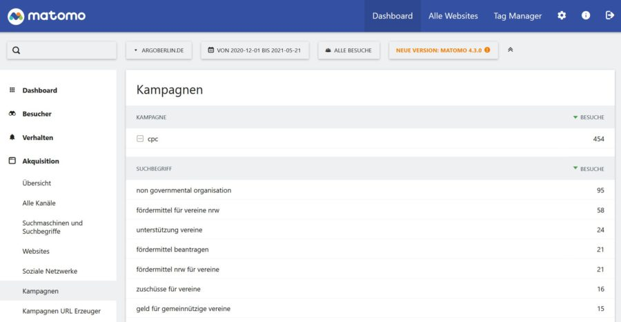Screenshot: wo findet man die Kampagnenparameter der Google Ads in Matomo
